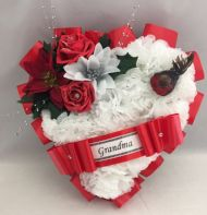 ARTIFICIAL CHRISTMAS WREATH ROBIN SILK FLOWERS HEART MEMORIAL GRAVE RED ROSES